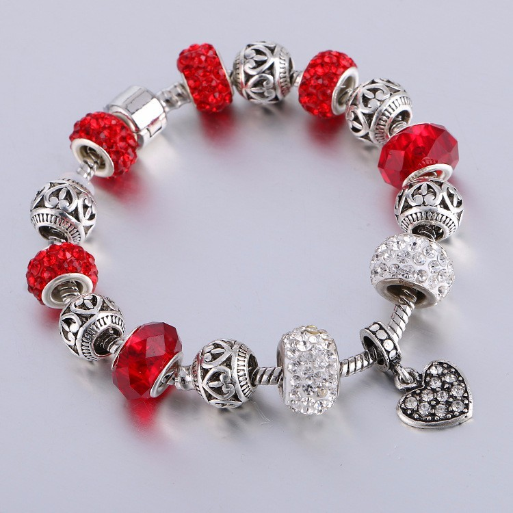 Color Crystal Heart Charm Bracelet