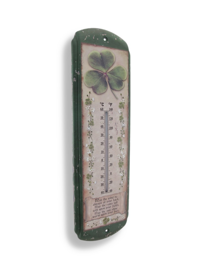 Irish Blessing Shamrock Indoor/Outdoor Thermometer