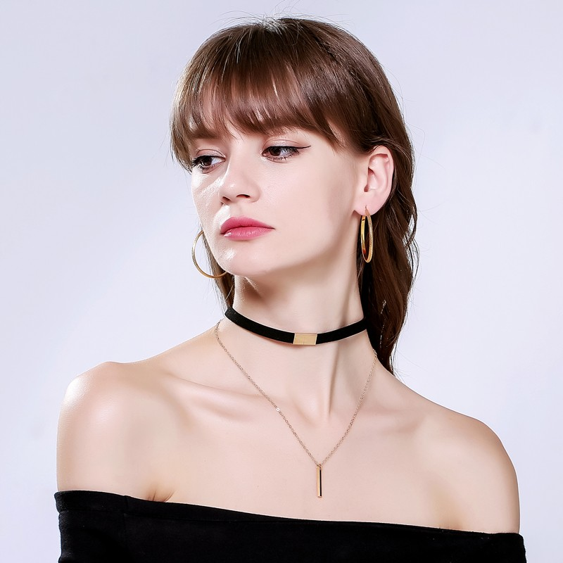 Velvet Necklace Choker with Chain Black Brown