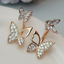Rhinestone Butterfly Stud Earrings