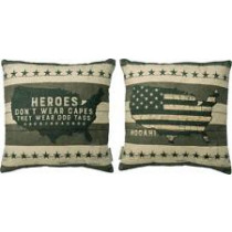 Heroes don't wear capes, they wear dog tags Pillow