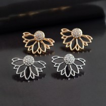 Lotus Stud Earring Rhinestone Ear Crawler Jacket