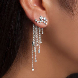 Star Streamlined Tassel Crystal Earrings