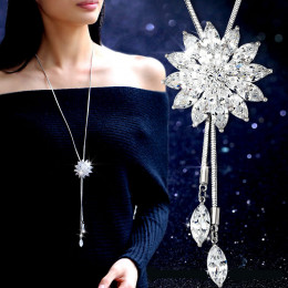 Snowflake Long Necklace Sweater Chain Rhinestone