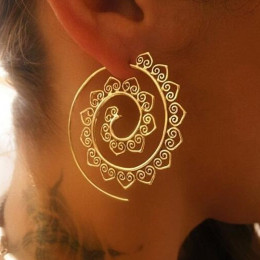 Ornate Swirl Hoop Gypsy Tribal Earrings